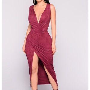 Burgundy High Slit Midi Dress